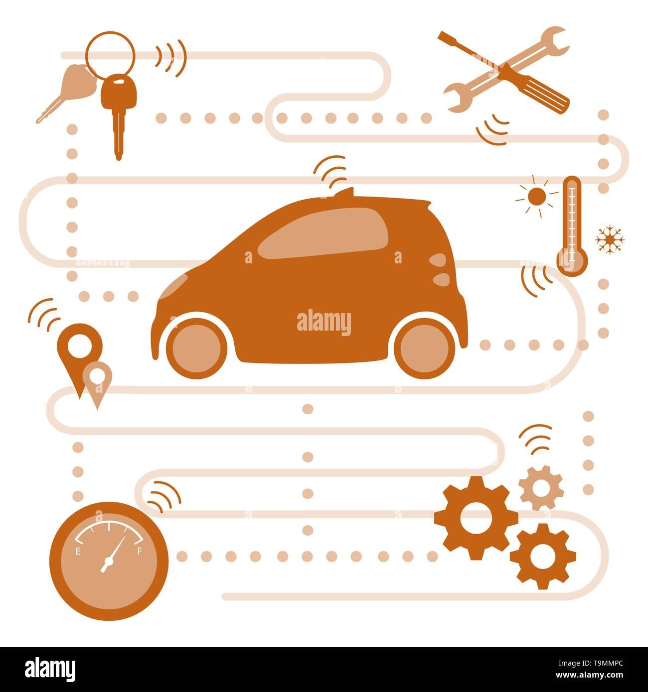 Smart - Auto Transfer von Informationen über seinen Zustand: die Lage, die Kraftstoffmenge, Temperaturen im Auto, muss für die Reparatur. Autom. Stockbild
