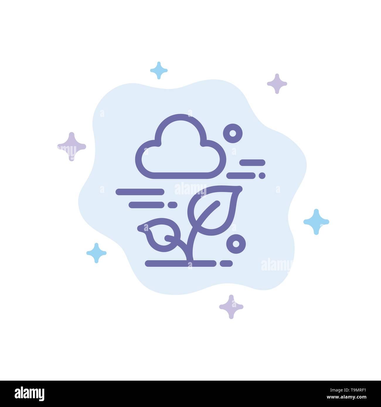 Pflanze, Cloud, Blatt, Technologie blaues Symbol auf Abstrakten Cloud Hintergrund Stockbild