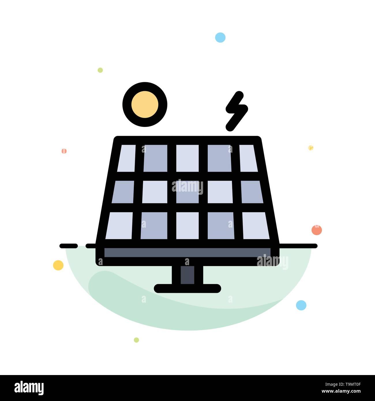 Energie, Umwelt, Grün, Solar Abstrakte flachen Farbe Symbol Vorlage Stockbild