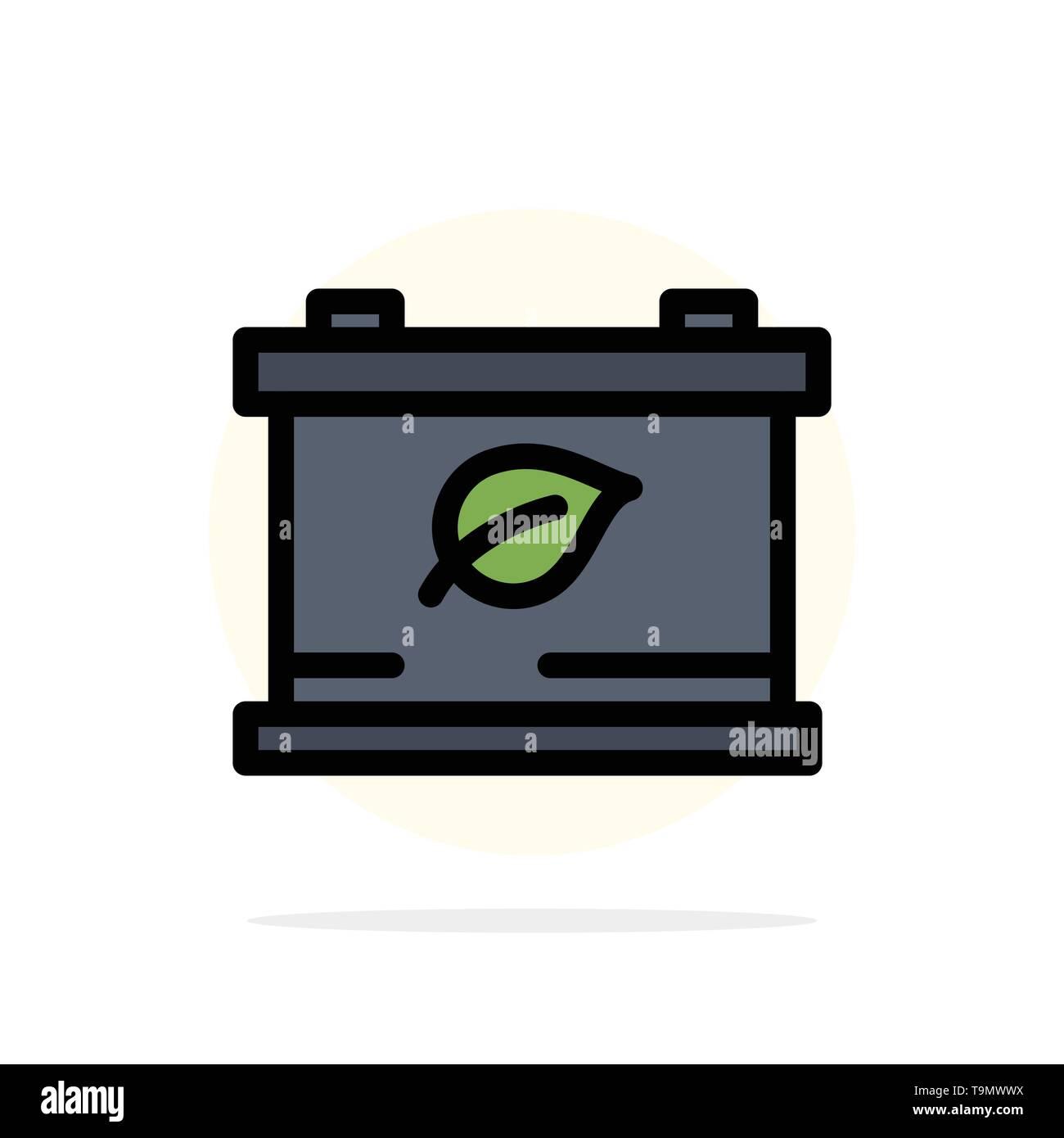 Batterie, Speichern, grün abstrakten Kreis Hintergrund flachen Farbe Symbol Stockbild