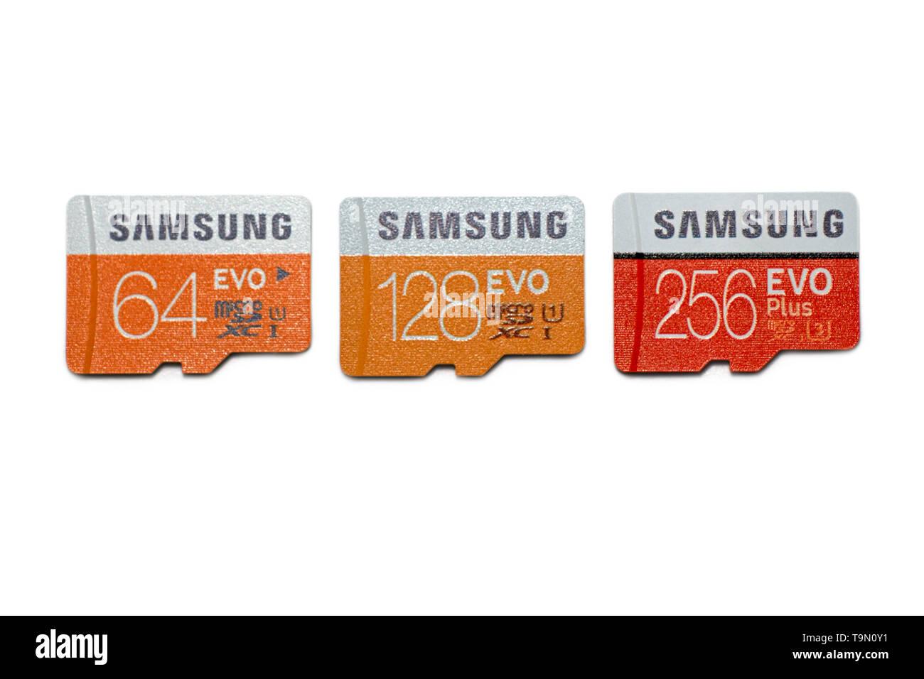 Micro SD Karten microSD-Speicherkarte, Speicherkapazität für Tablet-PC und Handy 64 GB 128 GB 256 GB Stockbild