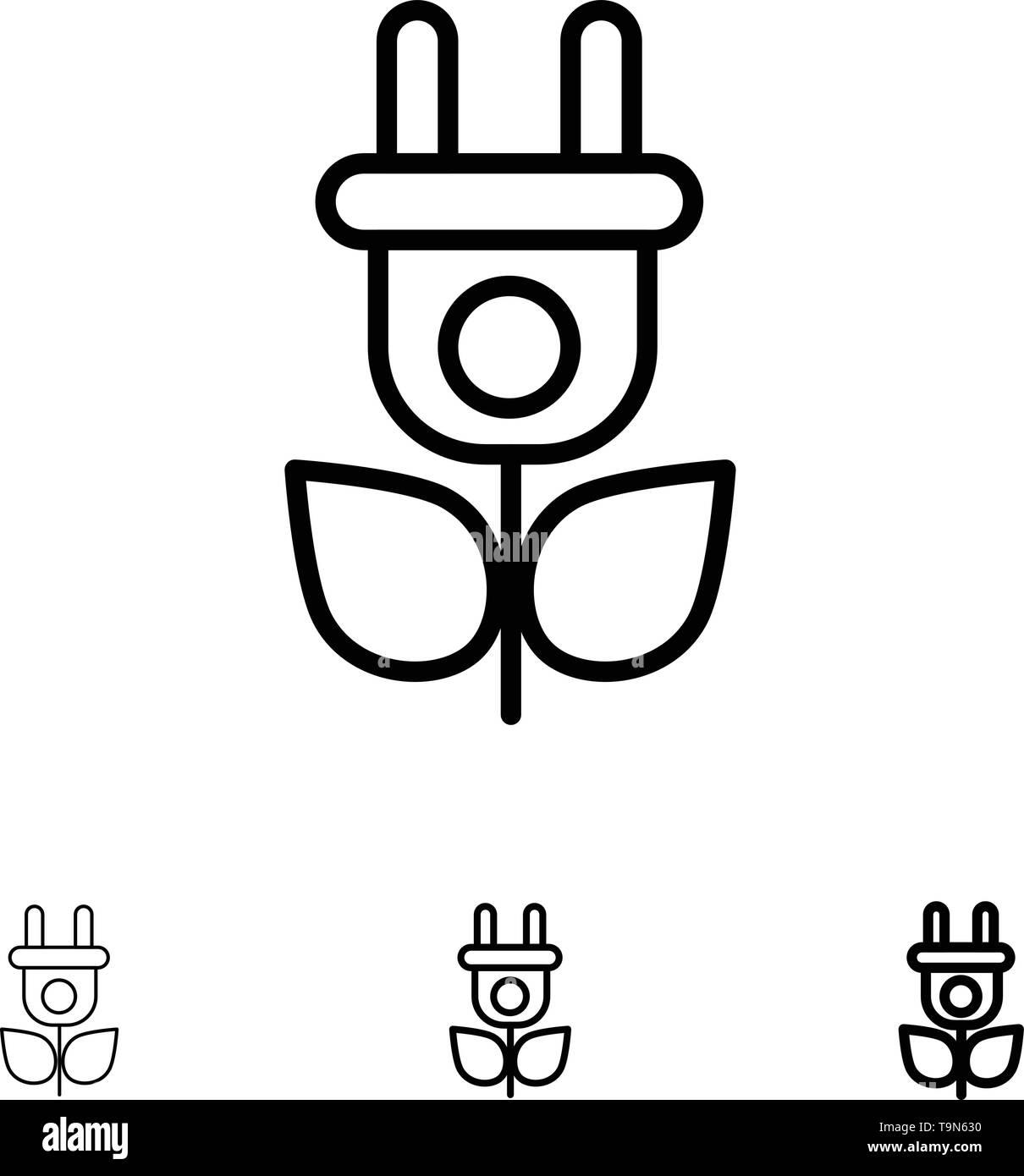 Eco, Strom, Natur Bold und dünne schwarze Linie Icon Set Stockbild