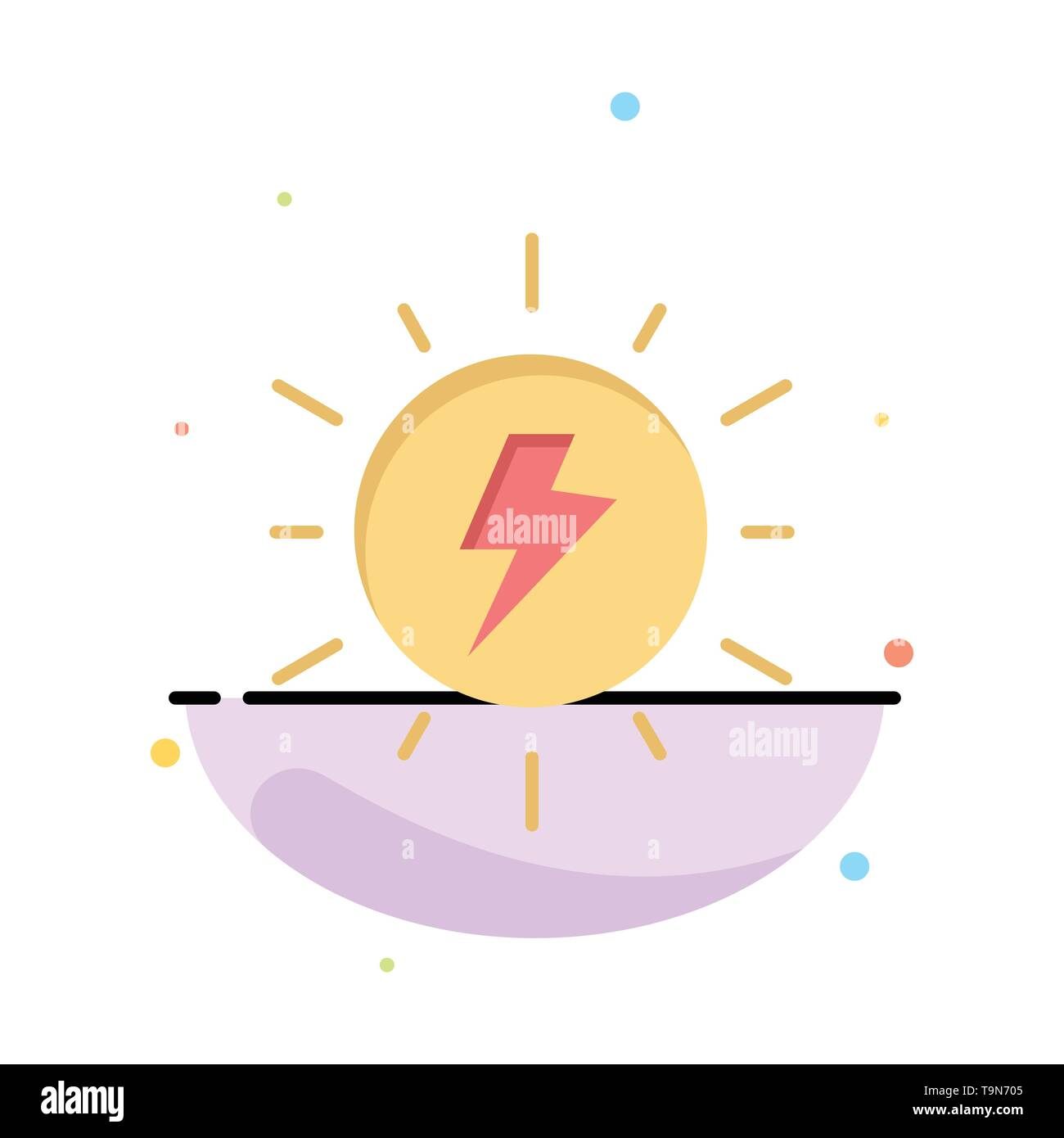 Energie, Solar, Sonne, kostenlos Business Logo Vorlage. Flachen Farbe Stockbild