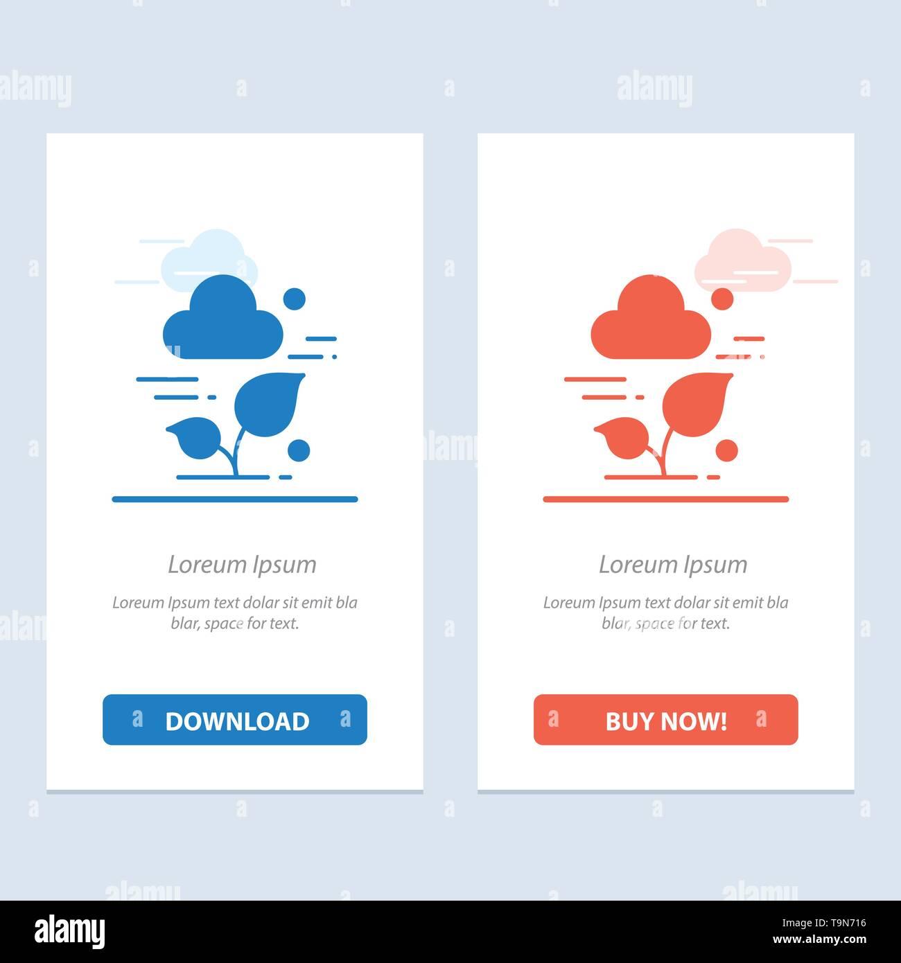 Pflanze, Cloud, Blatt, Technologie Blau und Rot Jetzt herunterladen und Web Widget Karte Vorlage kaufen Stockbild