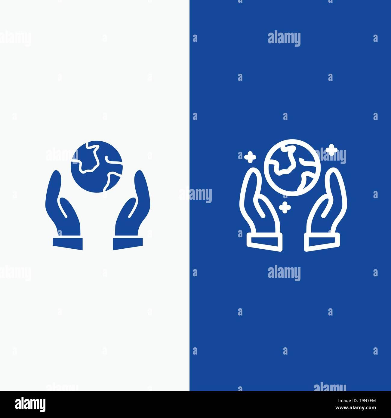 Erde speichern, Eco, Guarder Linie und Glyphe feste Symbol blau Banner und Glyphe feste Symbol blau Banner Stockbild