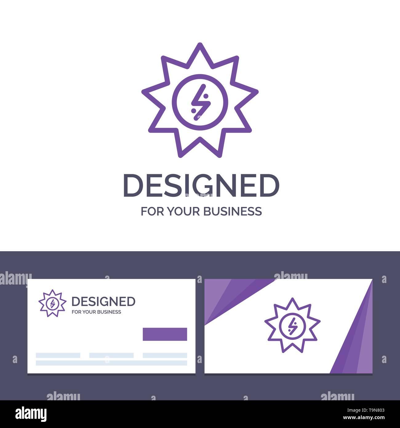 Creative Business Card und Logo Vorlage Energie, Solar, Energie, Power Vector Illustration Stockbild