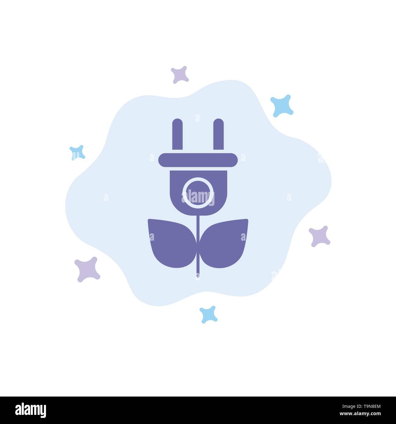 Eco, Strom, Natur blaues Symbol auf Abstrakten Cloud Hintergrund Stockbild