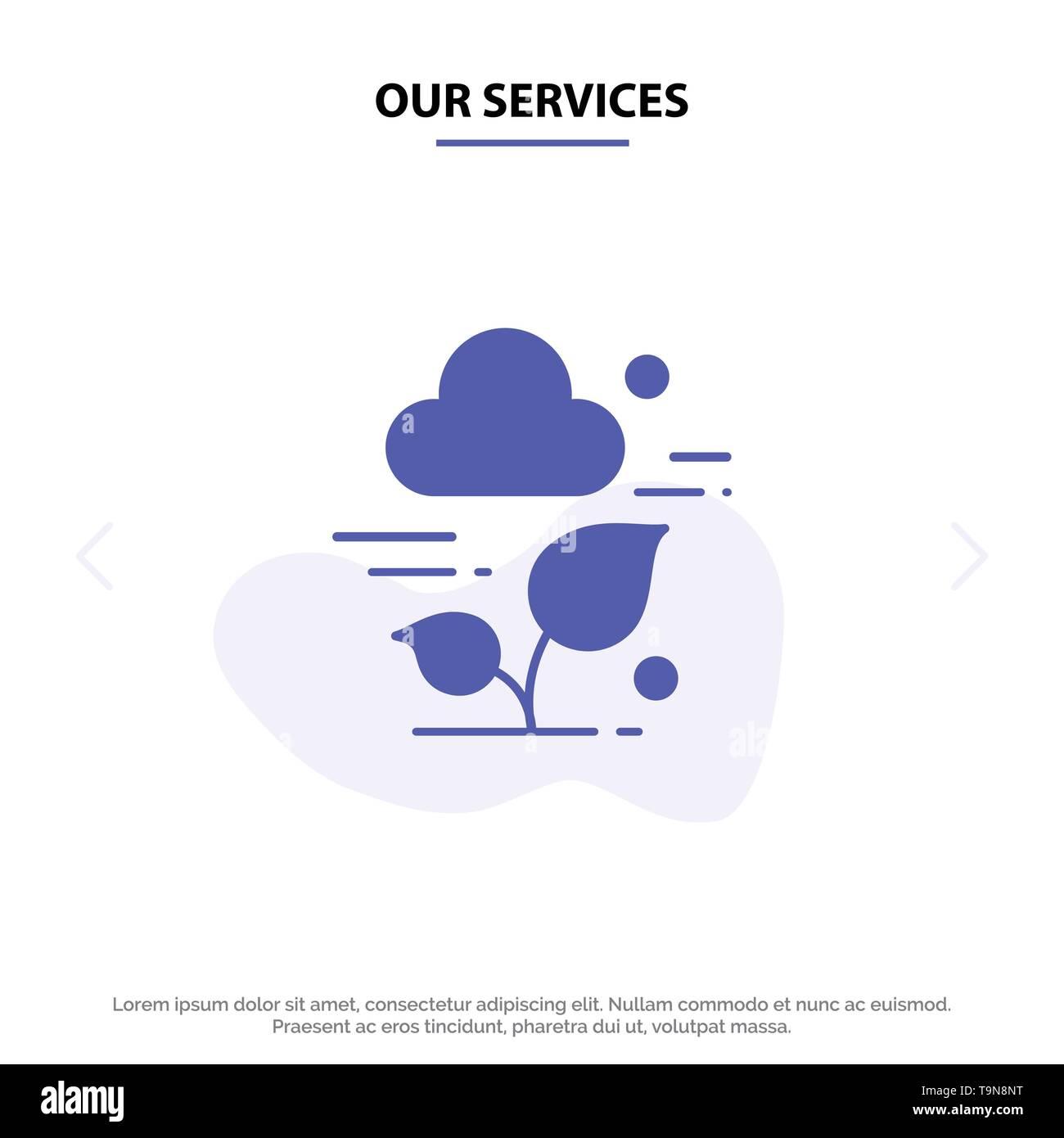 Unsere Leistungen Anlage, Cloud, Blatt, Technologie solide Glyph Icon Web Karte Vorlage Stockbild