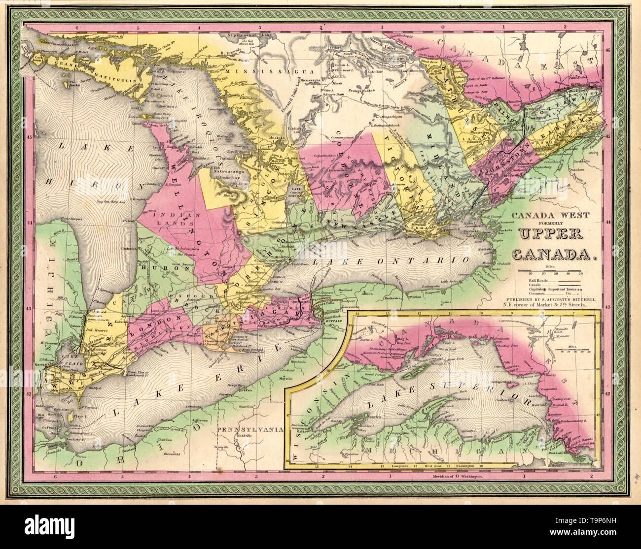 Karte Von Kanada West Ehemals Upper Canada 1849 Stockfoto Bild