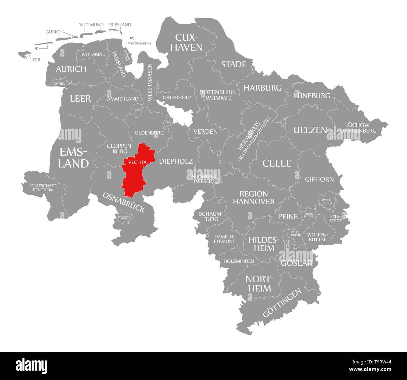 Vechta County In Rot Hervorgehoben Karte Von Niedersachsen