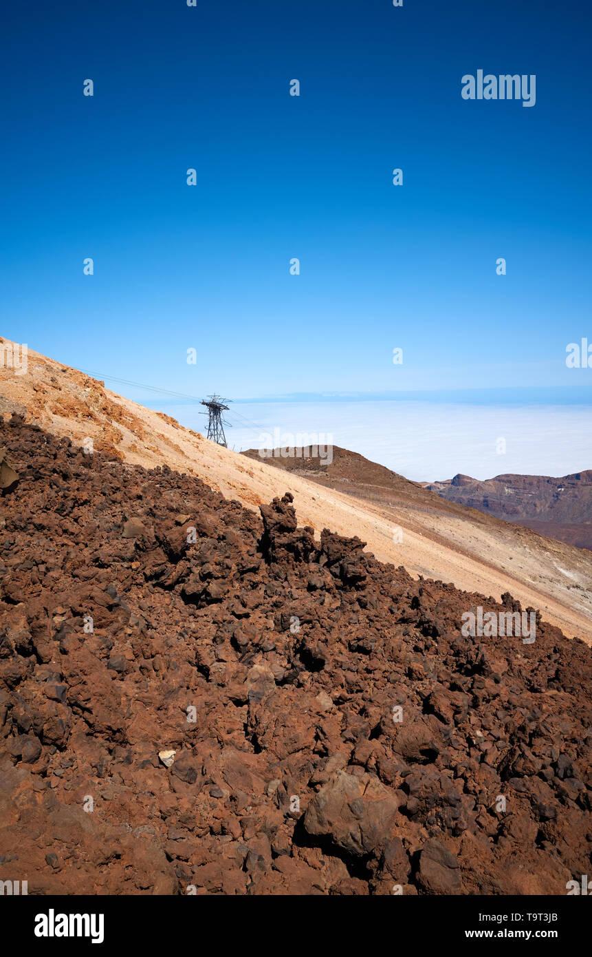 Mount Teide vulkanische Landschaft, den Nationalpark Pico del Teide, Teneriffa, Spanien. Stockbild