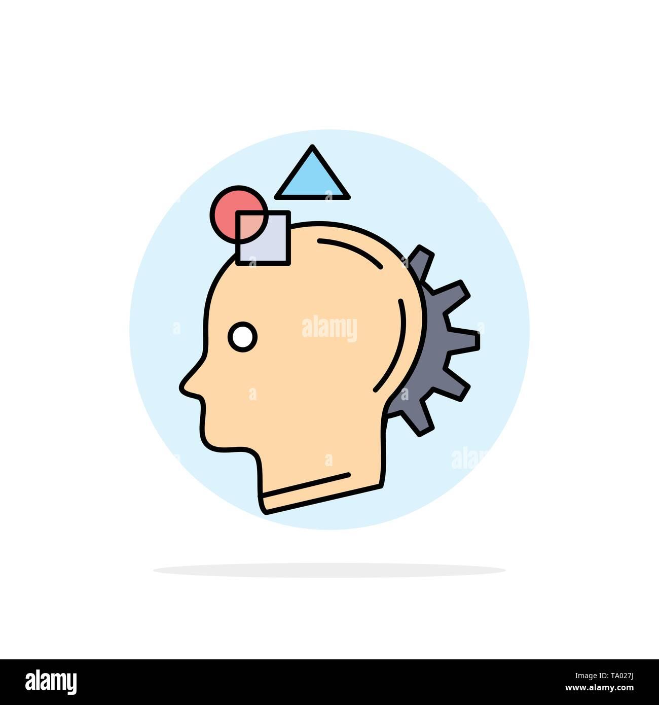 Vorstellungskraft, Phantasie, sich vorstellen, Idee, Prozess flachen Farbe Symbol Vektor Stockbild