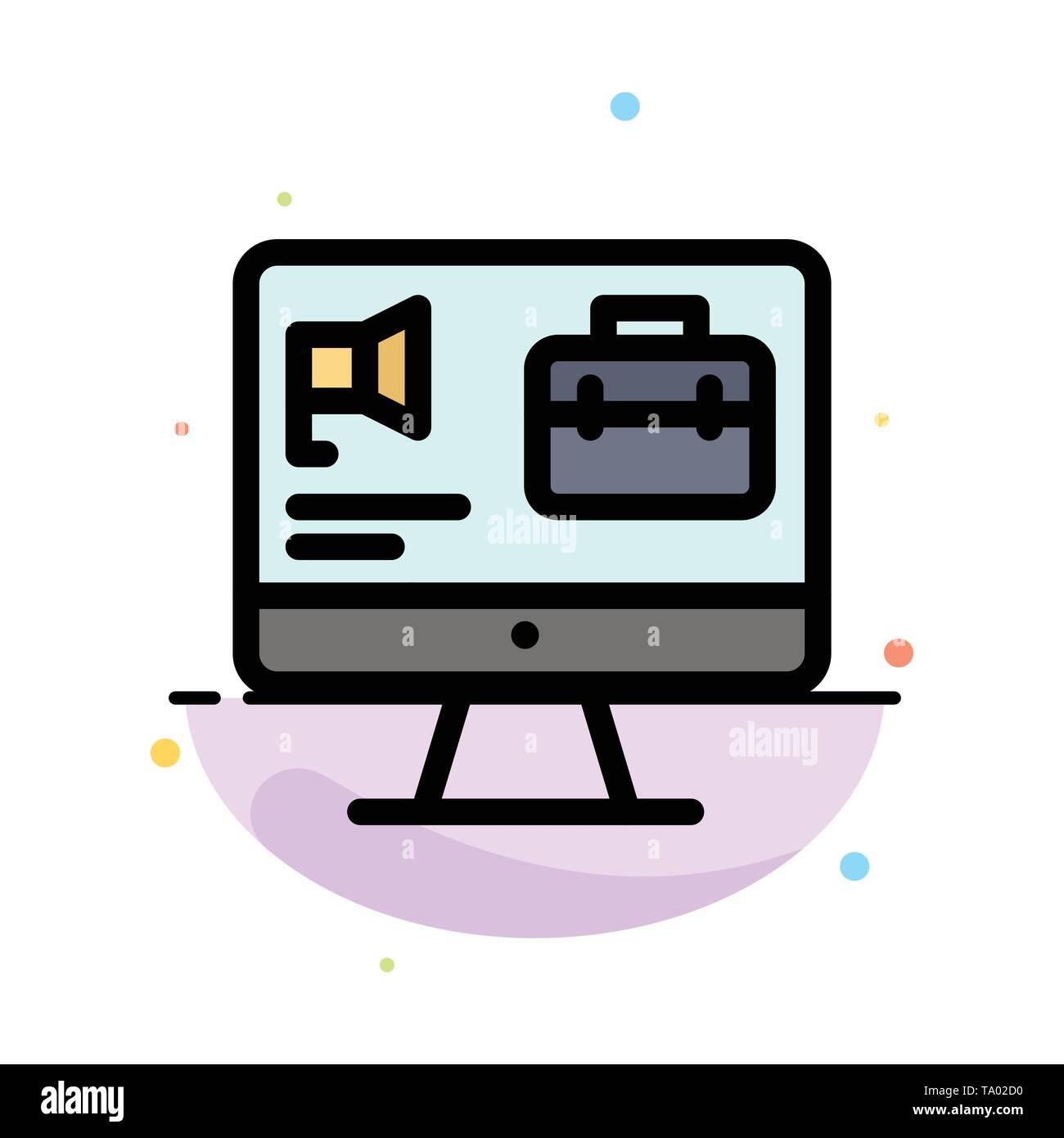 Computer, Tasche, Lautsprecher, Job Abstrakte flachen Farbe Symbol Vorlage Stockbild