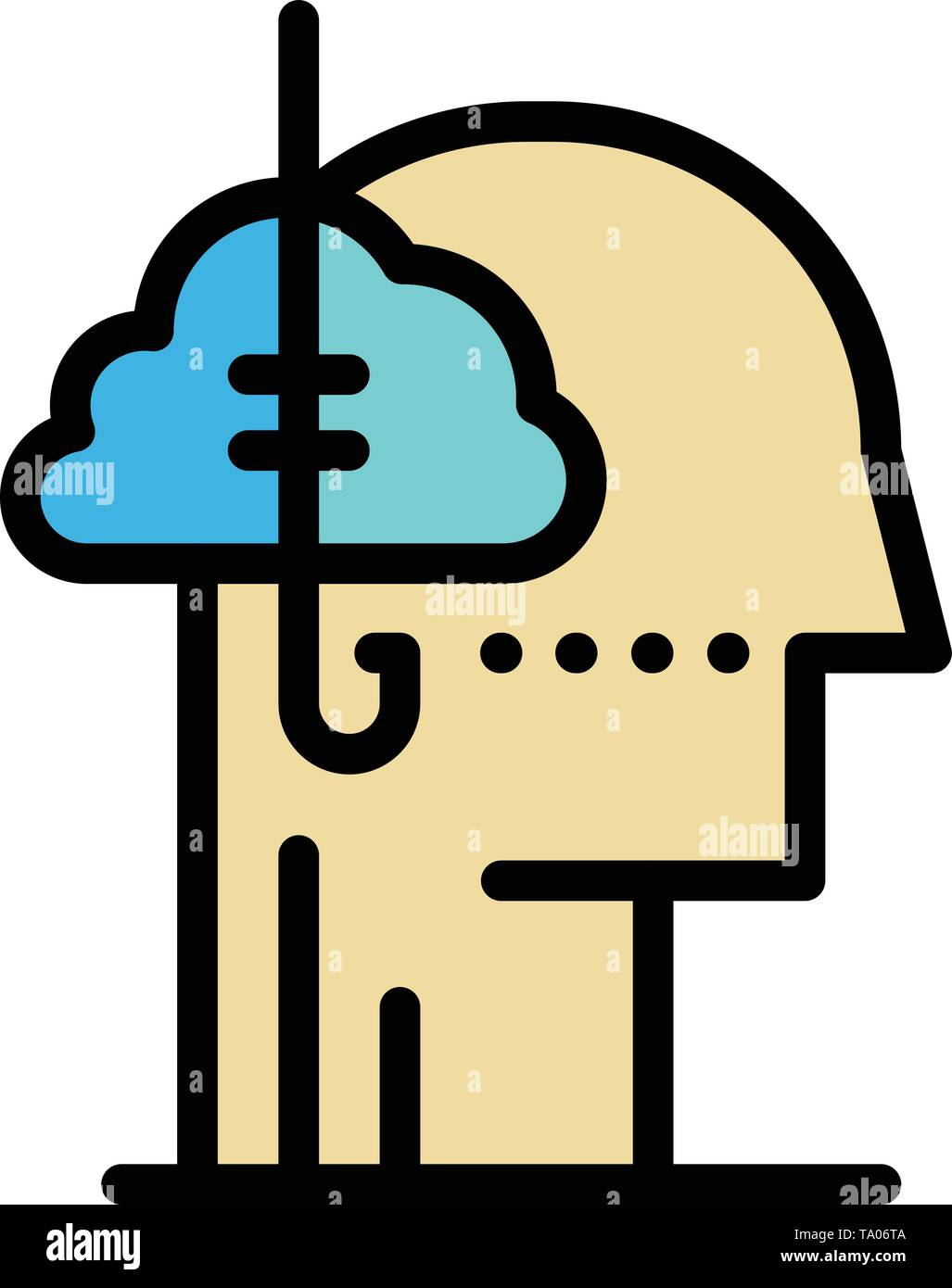 Kreditaufnahme Ideen, Sucht, Fangen, Gewohnheit, Menschliche flachen Farbe Symbol. Vektor icon banner Vorlage Stockbild