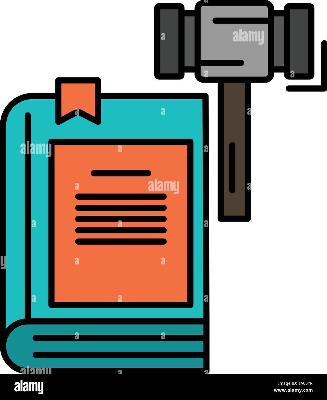 Gesetz, Aktion, Auktion, Gericht, Hammer, Hammer, recht flachen Farbe Symbol. Vektor icon banner Vorlage Stockbild