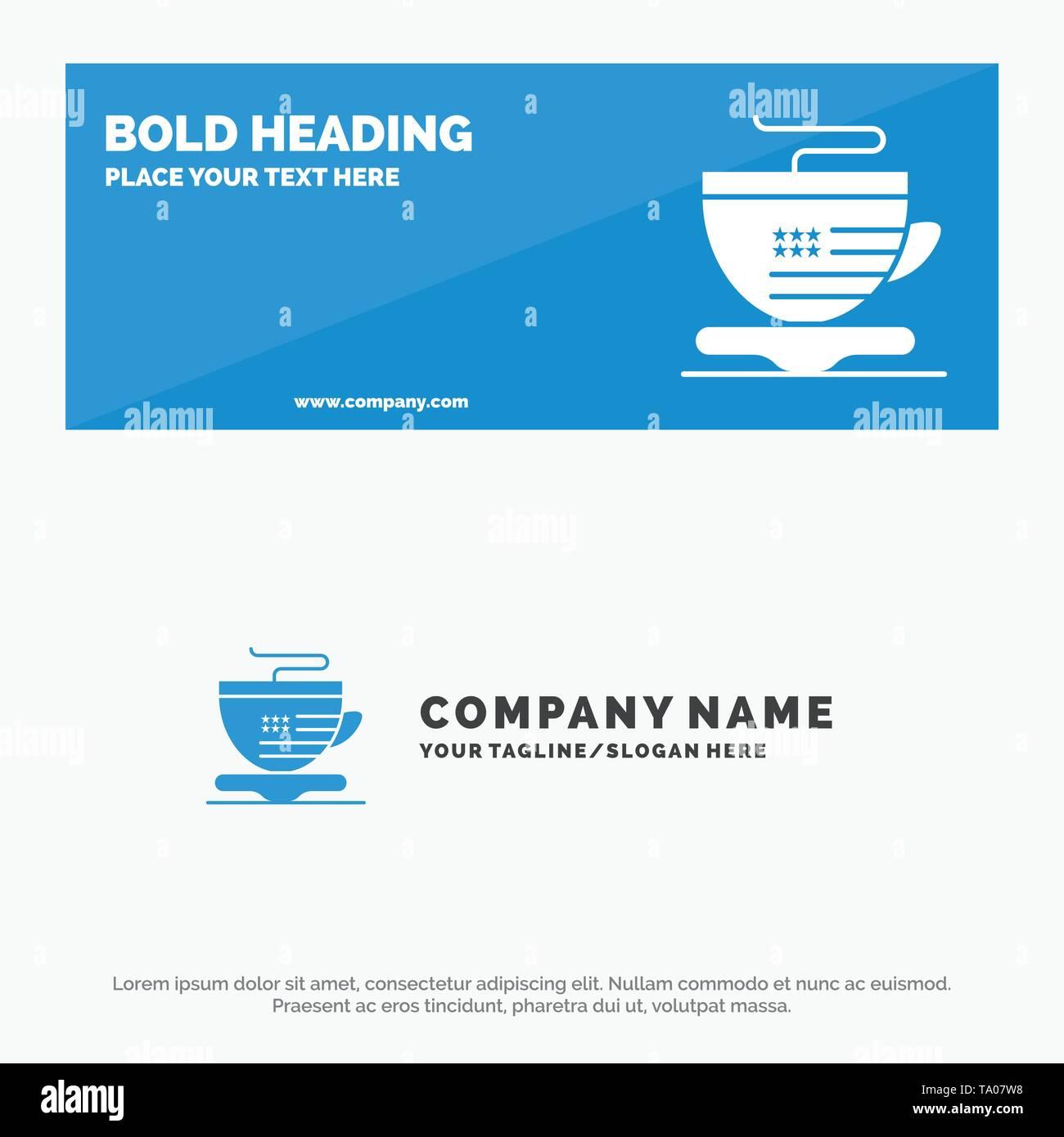 Kaffee, Becher, Kaffee, Usa solide Symbol Website Banner und Business Logo Vorlage Stockbild