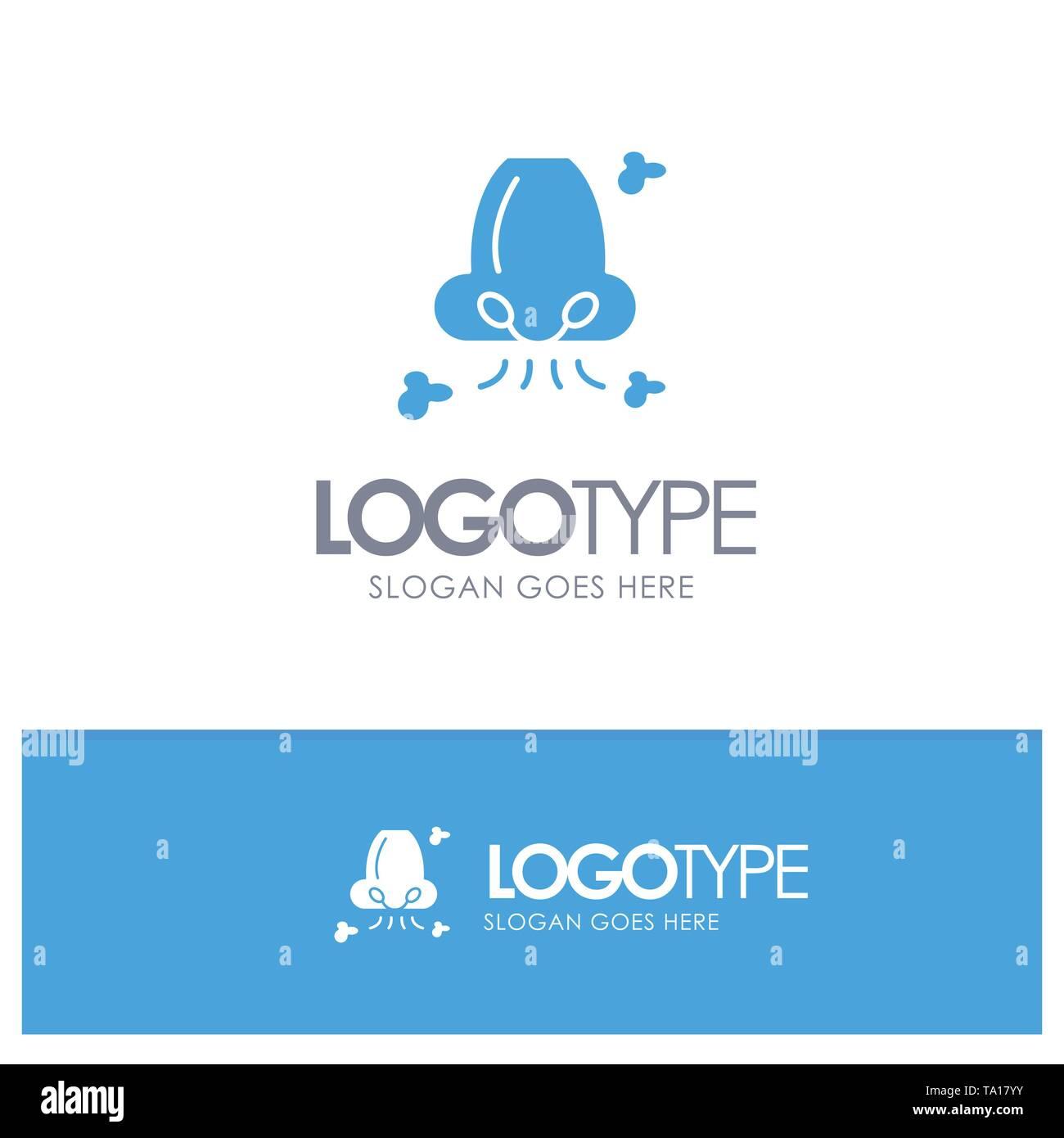 Luft, Atmen, Gesundheit, Nase, Umweltverschmutzung Blue Solid Logo mit Slogan Stockbild