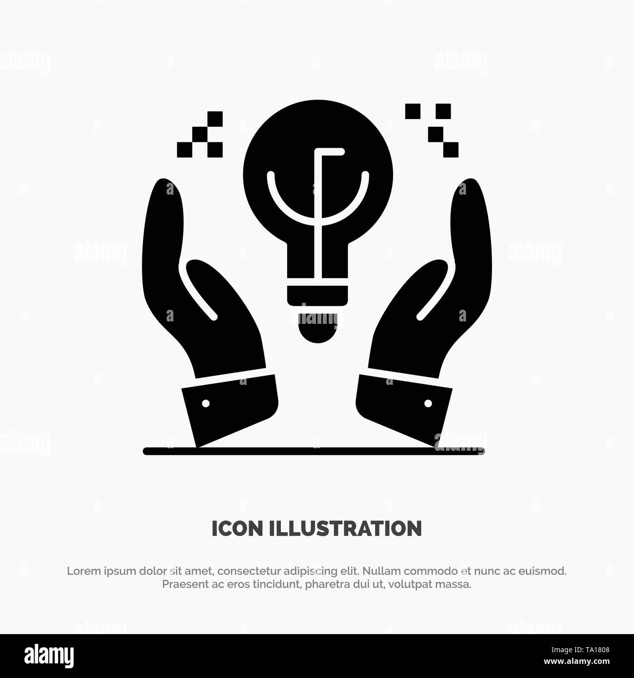 Geschützte Ideen, Business, Idee, Hand feste Glyphe Symbol Vektor Stockbild