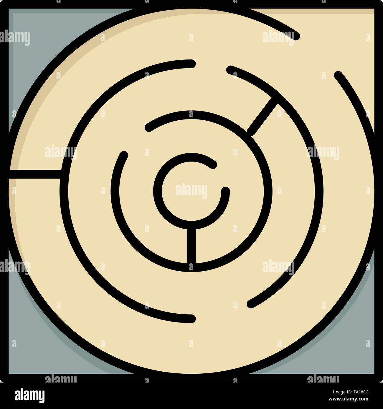 Labyrinth, Karte, Labyrinth, Strategie, Muster flachen Farbe Symbol. Vektor icon banner Vorlage Stockbild