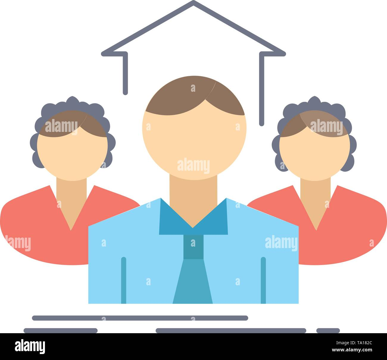 Team, Business, Teamarbeit, Gruppe, Konferenz flachen Farbe Symbol Vektor Stockbild