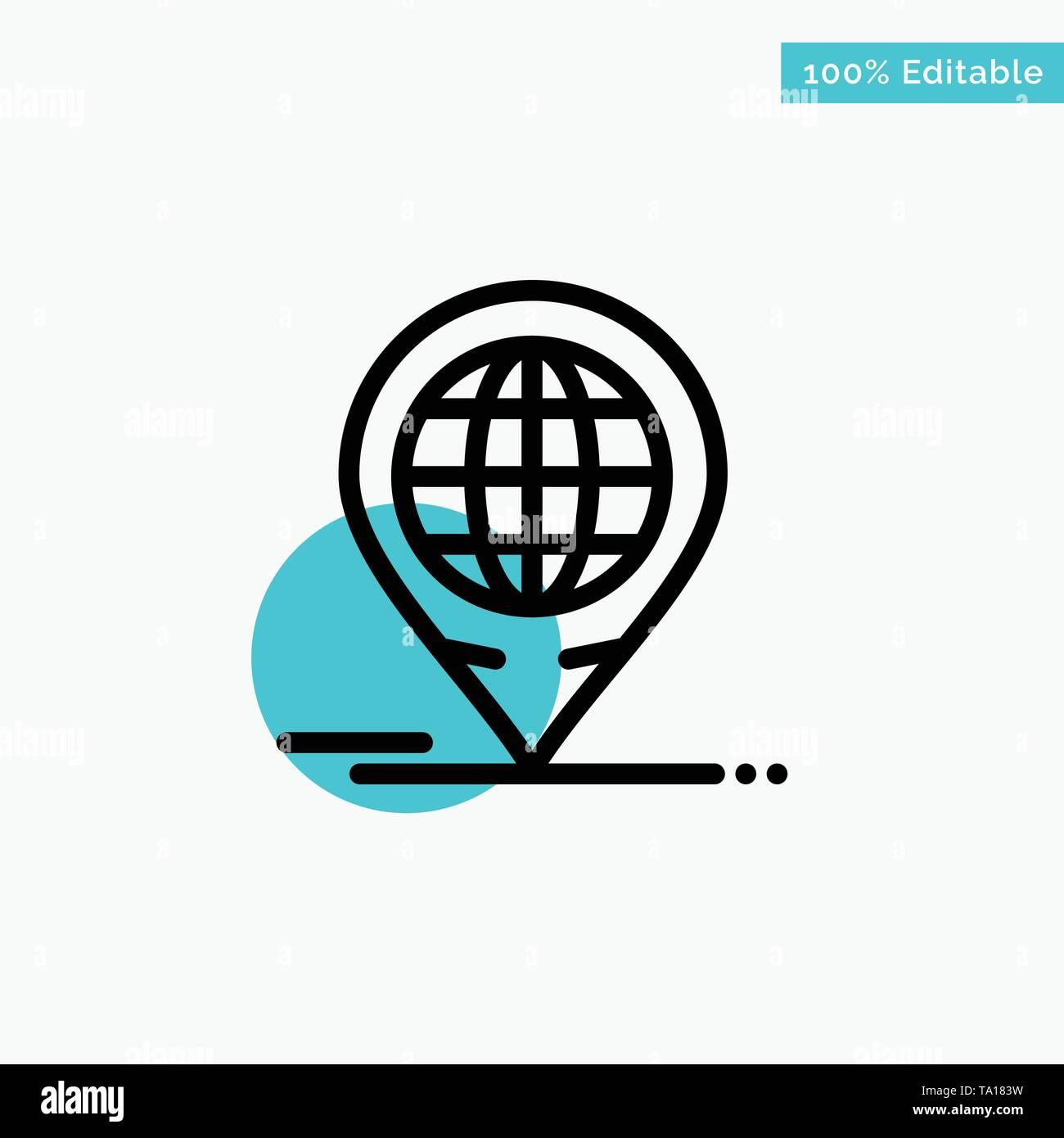 Business, Forum, Global, Moderne türkis Kreis punkt Vektor Symbol markieren Stockbild