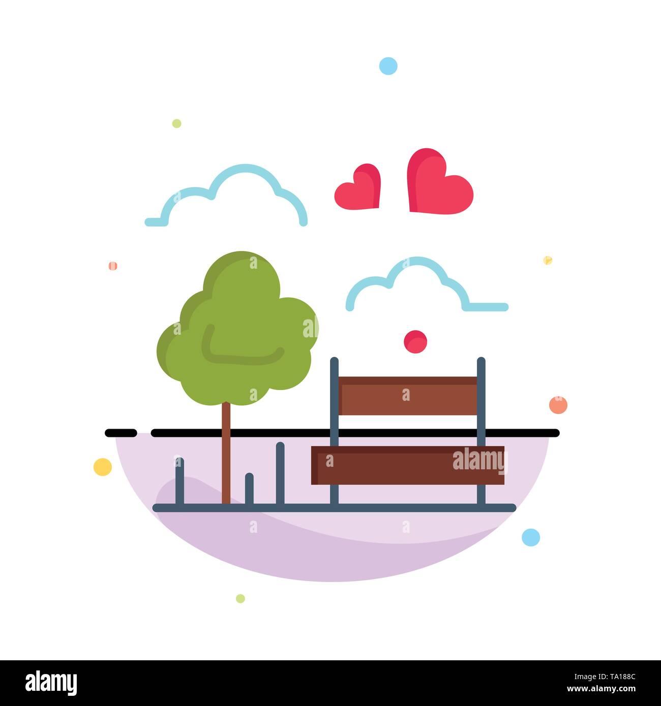Park, Baum, Bank, Liebe, einen abstrakten flachen Farbe Symbol Vorlage Stockbild