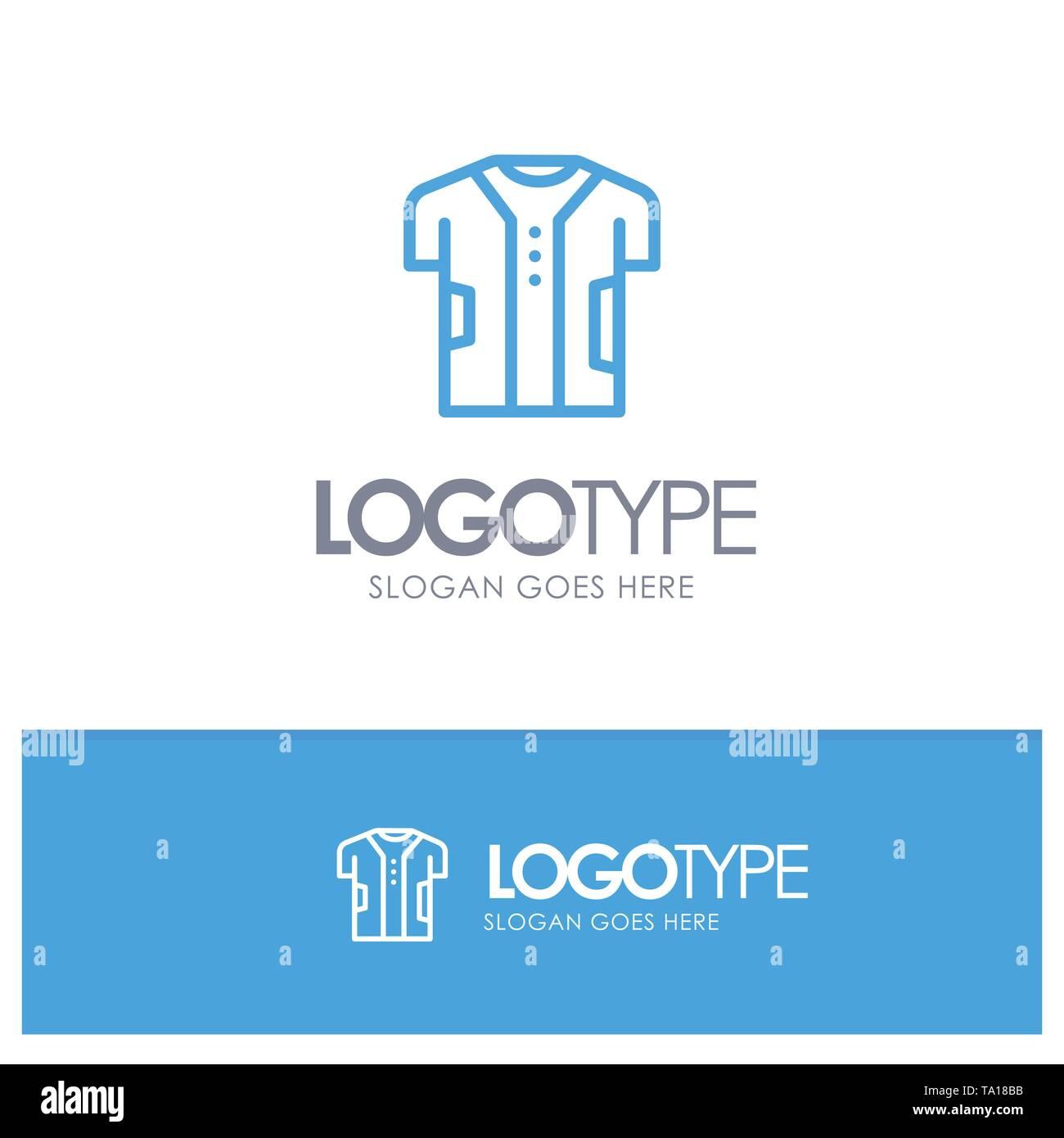 Tuch, Kleidung, digitale, elektronische, Stoff blau outLine Logo mit Slogan Stockbild