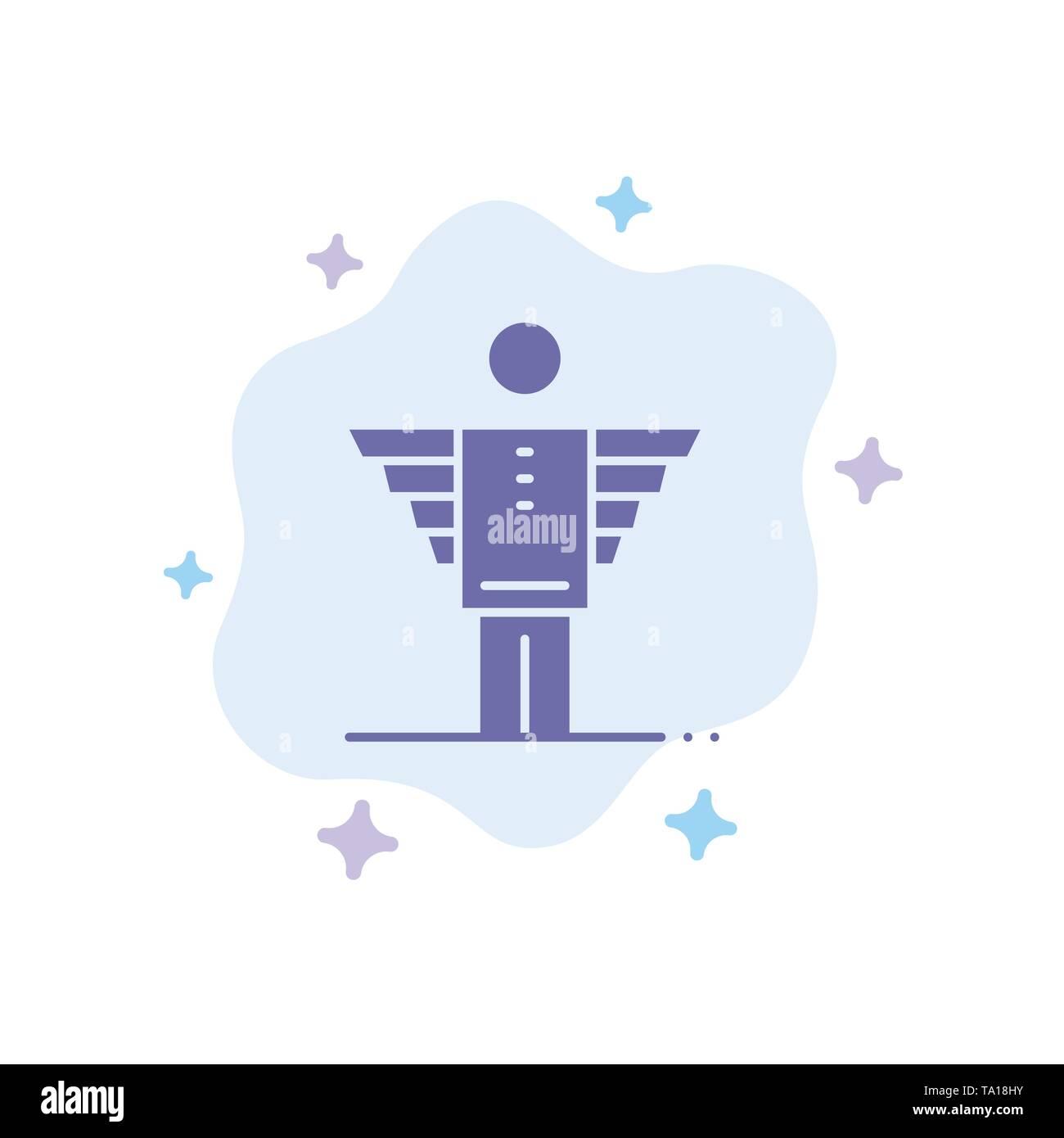 Engel, Business, Karriere, Freiheit, Investor blaues Symbol auf Abstrakten Cloud Hintergrund Stockbild