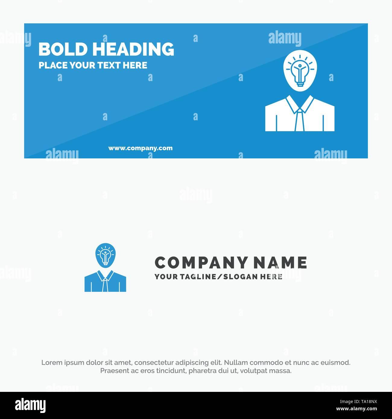 Mann, Idee, Erfolg, Licht, Wachstum solide Symbol Website Banner und Business Logo Vorlage Stockbild