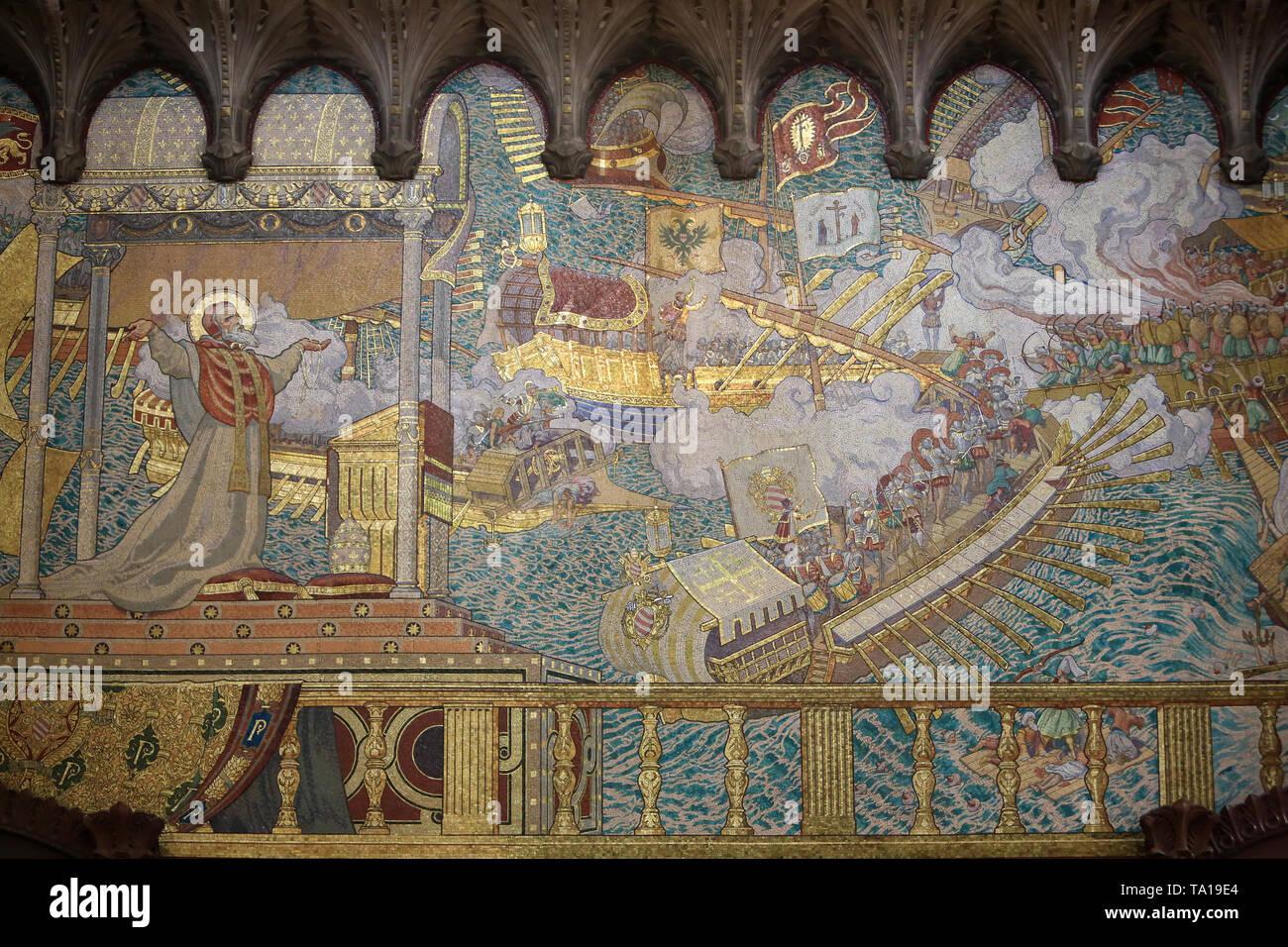 La Bataille de Lépante. Le Pape Pius V reçoit de Dieu la Vision de la Victoire de la flotte chrétienne sur la flotte Turque. Stockbild