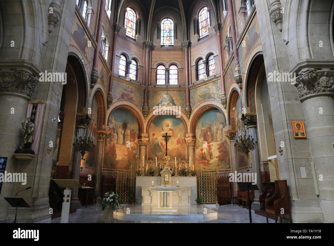 Choeur. Eglise Cook. Saint-Cloud. Chor. Kirche St. Clodoald. Saint-Cloud. Stockbild