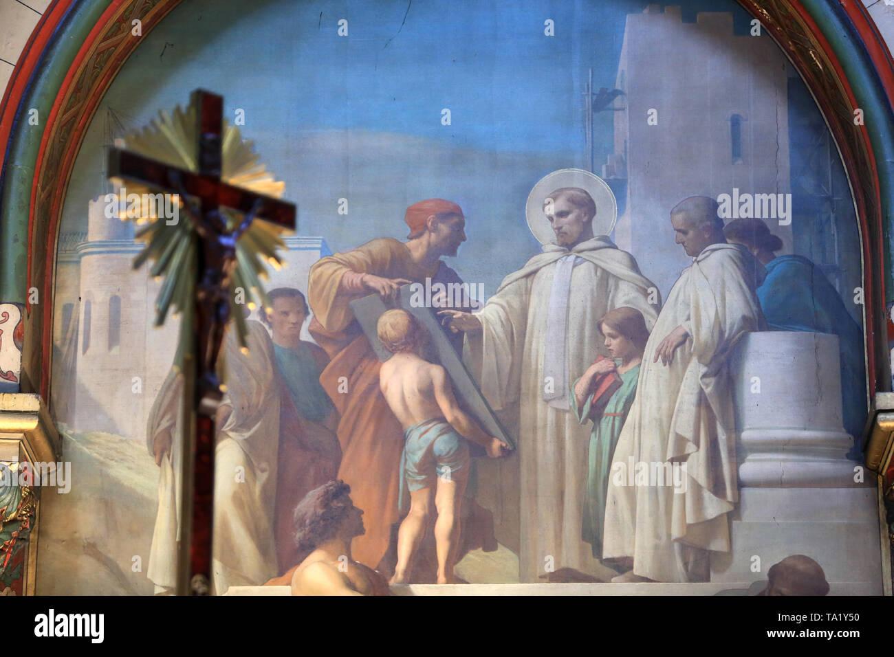 La Vie de Cook: la construction de Sohn monastère. Eglise Cook. Saint-Cloud. Das Leben des Heiligen Clodoald. Kirche St. Clodoald. Stockbild