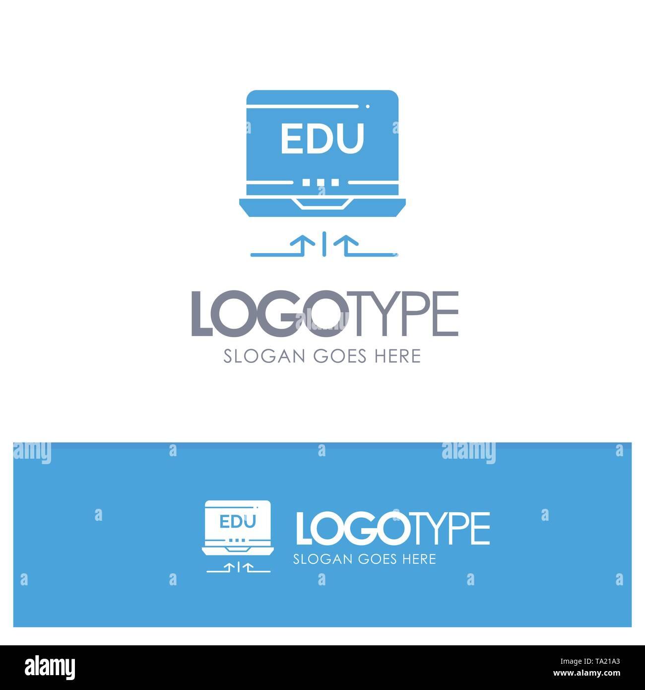 Laptop, Hardware, Pfeil, Bildung blaue Logo Vektor Stockbild