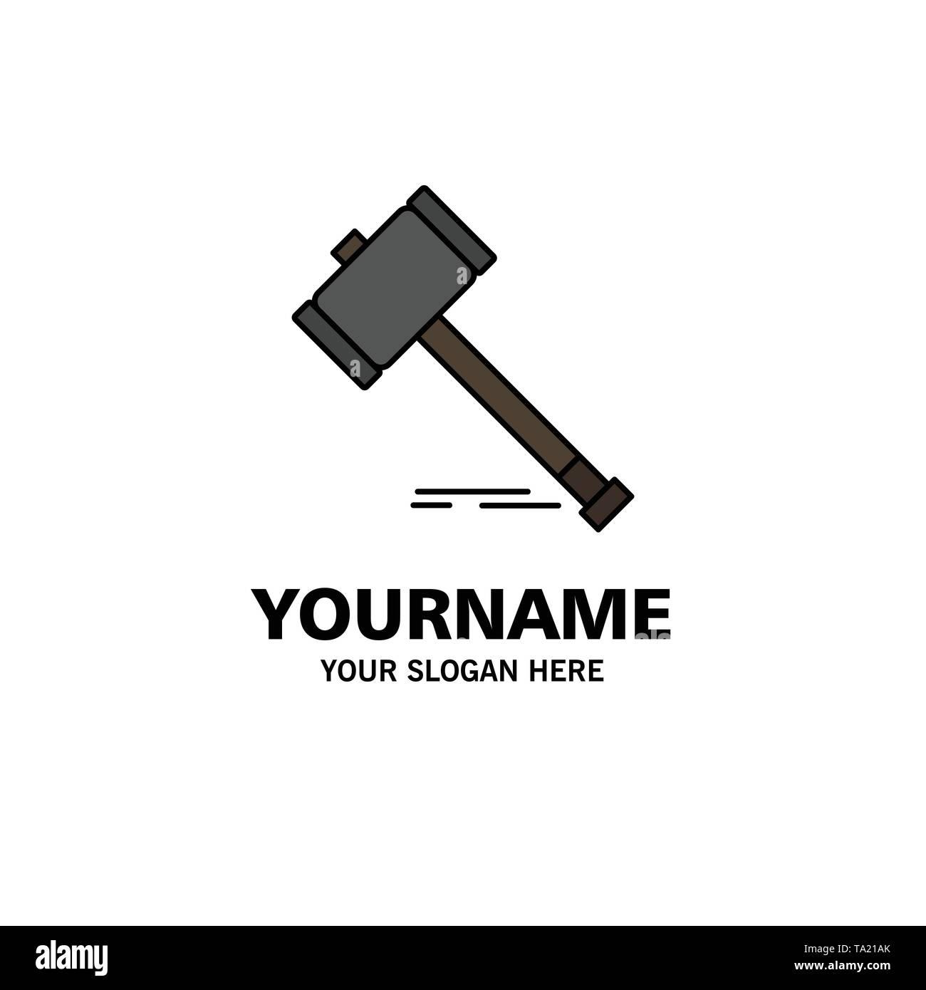 Aktion, Auktion, Gericht, Hammer, Hammer, Recht, Legal Business Logo Vorlage. Flachen Farbe Stockbild