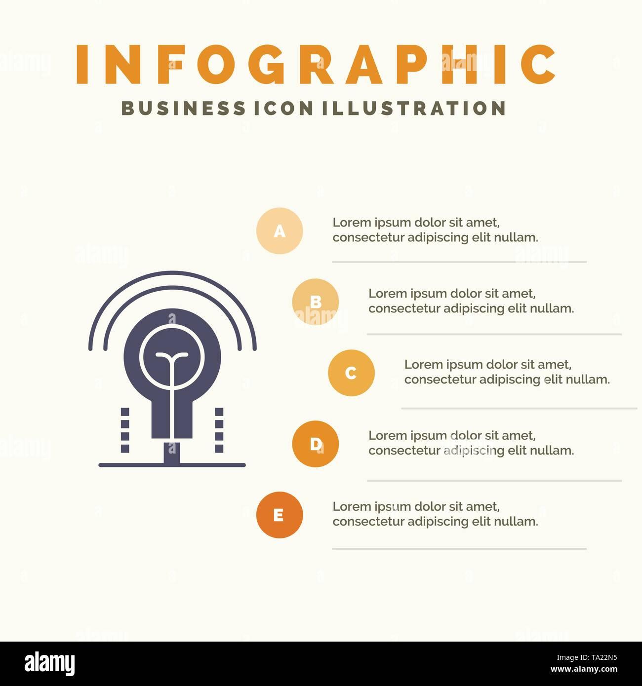 Glühlampe, Idee, Licht, Hotel Infografiken Präsentation Vorlage. 5 Schritte Präsentation Stockbild
