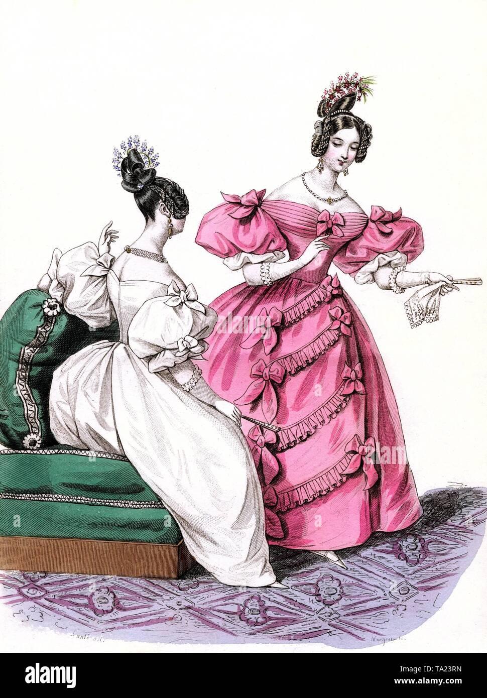 2729d85e43e01c Ball Kleider aus der Pariser Winter 1835. Aus der Sammlung von grafischen  Arbeiten der Pfarrei