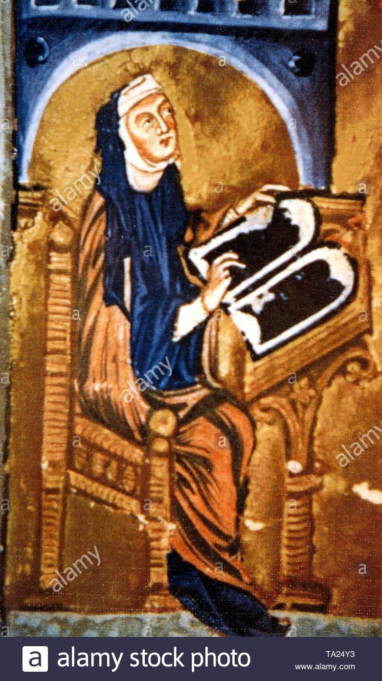 Hildegard von Bingen (1098 - 1179), der ersten deutschen Mystiker. Stockfoto