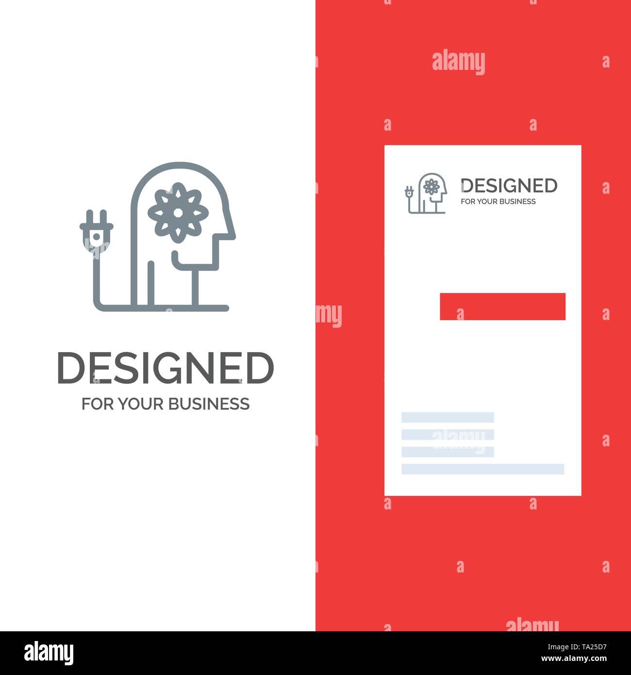Stärken, Fähigkeiten, Stärken, Wissen, Geist Grau Logo Design und Business Card Template Stockbild