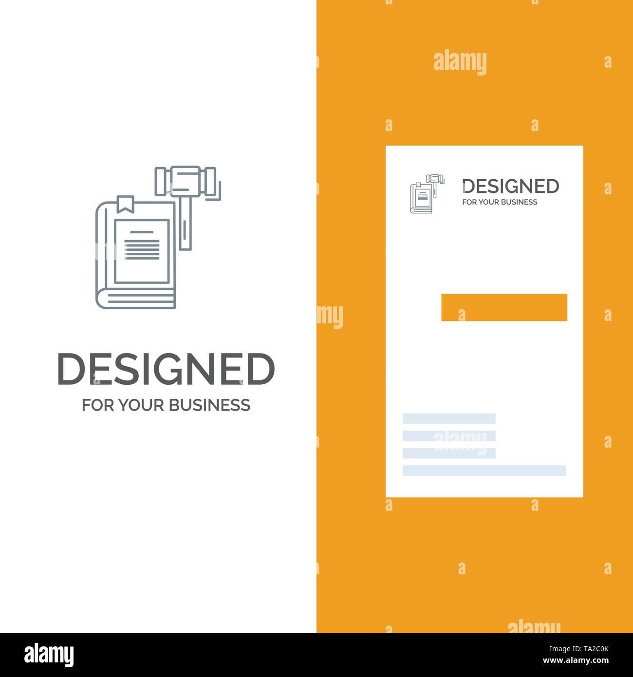 Gesetz, Aktion, Auktion, Gericht, Hammer, Hammer, rechtlichen Grau Logo Design und Business Card Template Stockbild