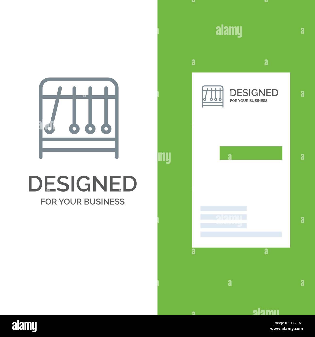 Physik, Pendel, Wissenschaft Grau Logo Design und Business Card Template Stockbild