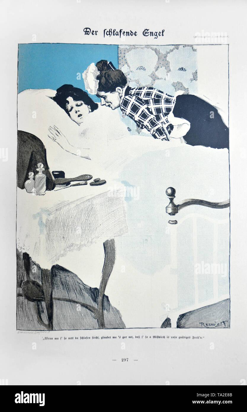 """Karikatur aus der satirischen Zeitschrift implicissimus'. Titel der Zeichnung ist 'Der schlafende Engel"""" (Der schlafende Engel') von karikaturisten Reznicek Ferdinand. In Simplicissimus Vol. 5, Issue No. 37, S. 297. Unter dem Bild heisst es: """"Er ist so süß schläft, man würde nie denken, was ein moron unsere Frau' ist. Stockbild"""