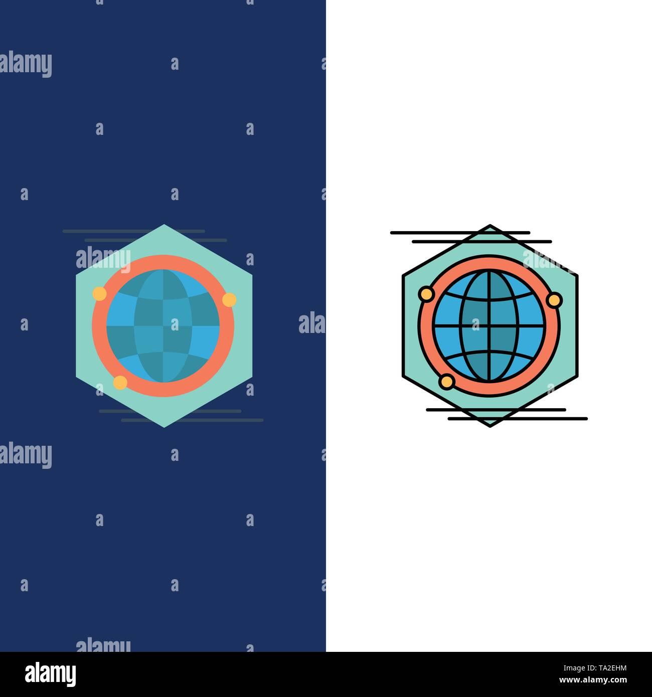 Globus, Polygon, Raum, Idee Symbole. Flach und Online ausgefüllt Icon Set Vektor blauem Hintergrund Stockbild