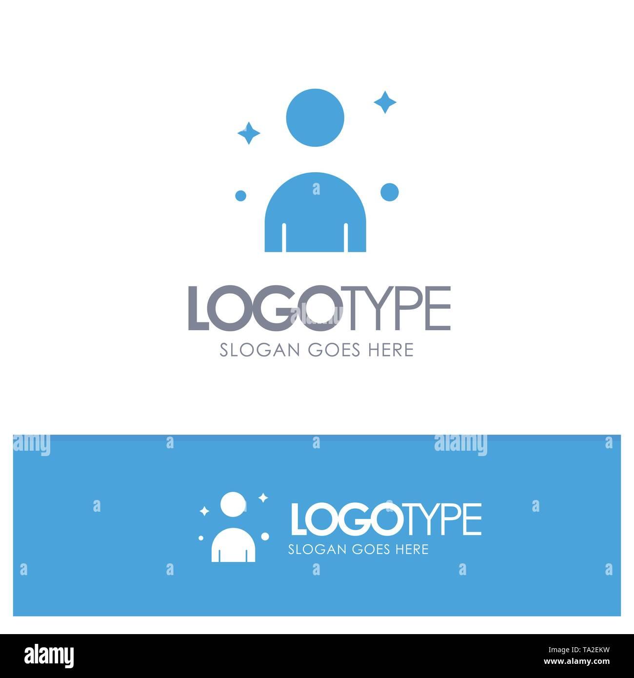 Mann, Mann, Person Blue Solid Logo mit Slogan Stockbild