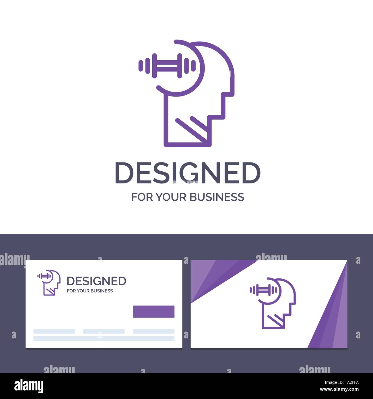 Creative Business Card und Logo Vorlage Ausbildung, Brian, Hantel, Leiter Vector Illustration Stockbild