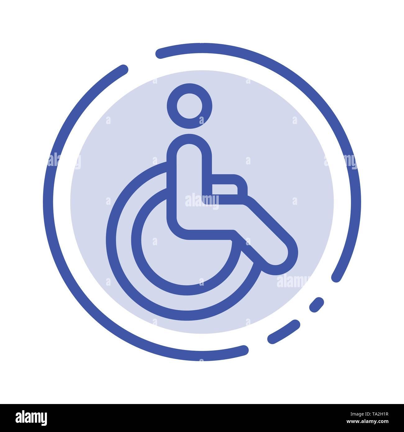 Rollstuhl, Fahrrad, Bewegung, Laufen, blau gepunktete Linie Symbol Leitung Stockbild
