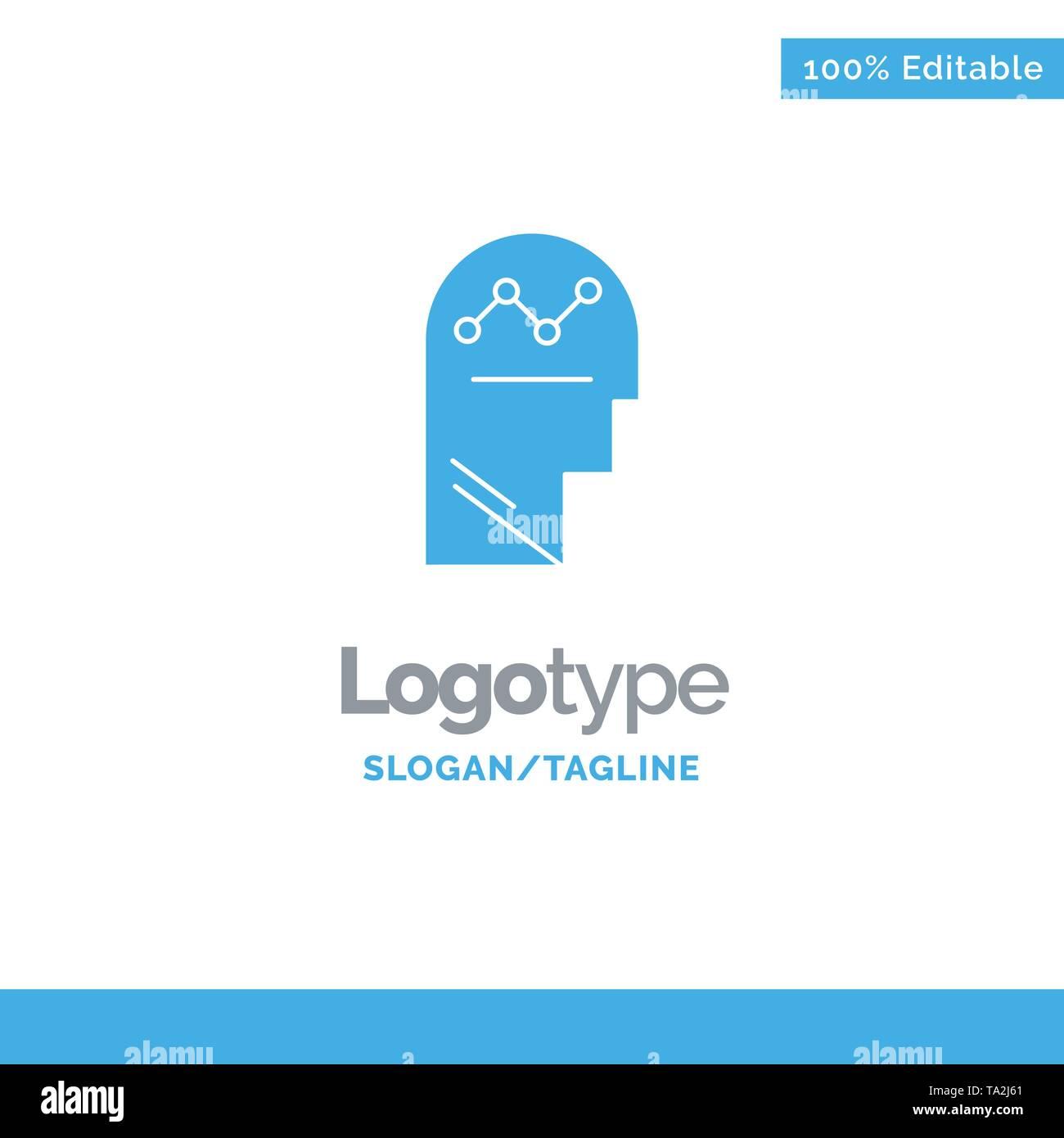 Benutzer, Prozess, Erfolg, Mann, Denken Blue Solid Logo Vorlage. Platz für Slogan Stockbild