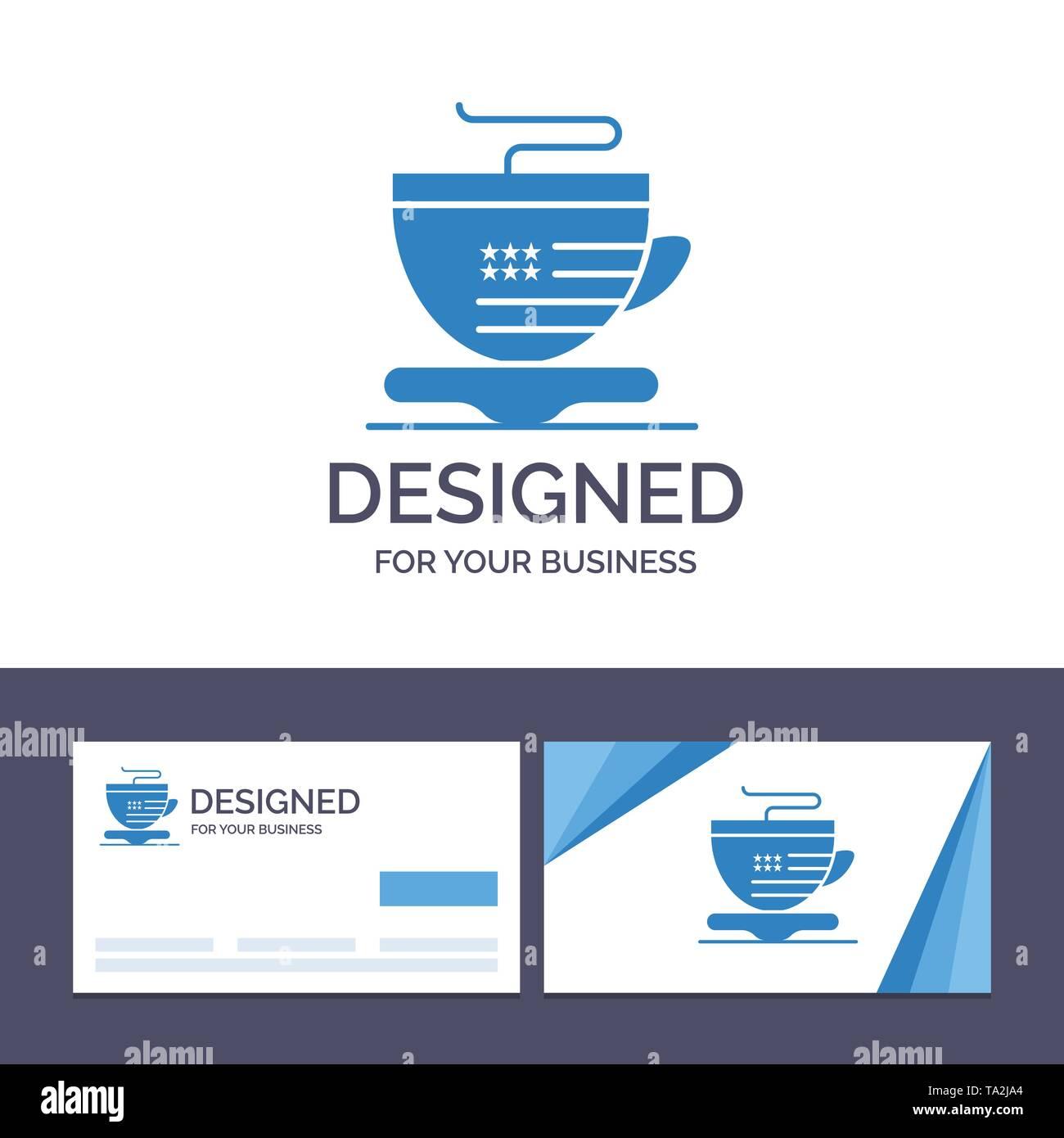 Creative Business Card und Logo Vorlage Tee, Becher, Kaffee, Usa Vector Illustration Stockbild
