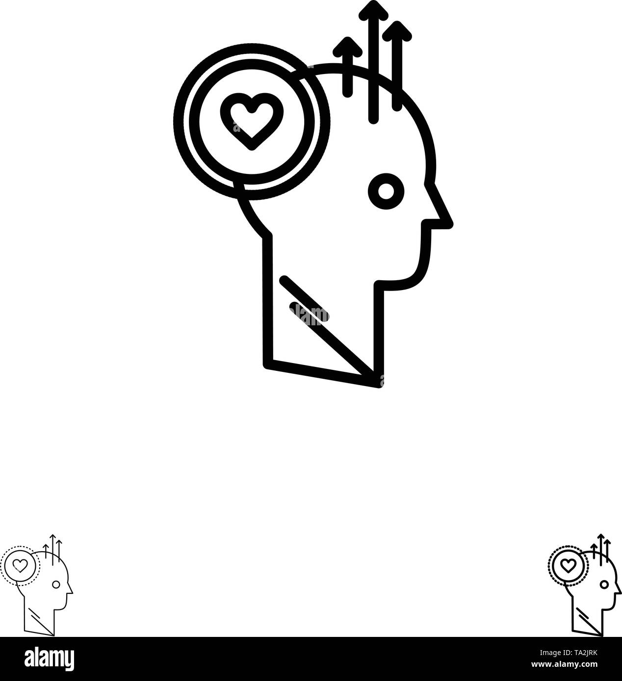 Benutzer, wie, Personal, Büro, Idee, Fett und dünne schwarze Linie Icon Set Stockbild