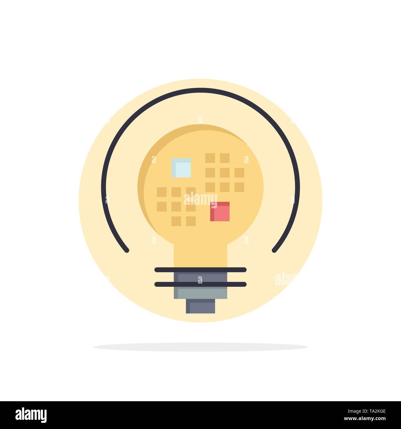 Daten, Insight, Licht, Lampe abstrakten Kreis Hintergrund flachen Farbe Symbol Stockbild
