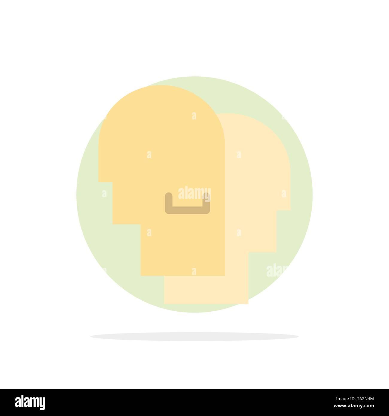 Hut, Menschen, Einfühlungsvermögen, Gefühle abstrakt Kreis Hintergrund flachen Farbe Symbol Stockbild